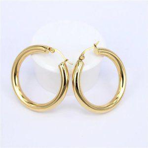 NEW 18K Yellow Gold Round 2'' Tube Hoop Earrings
